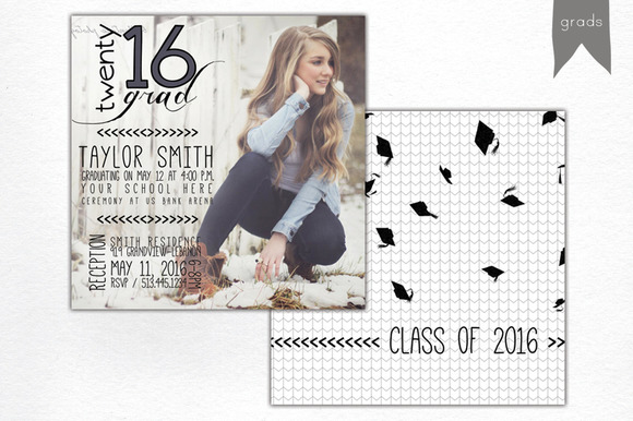 graduation announcement template card templates on creative market. Black Bedroom Furniture Sets. Home Design Ideas