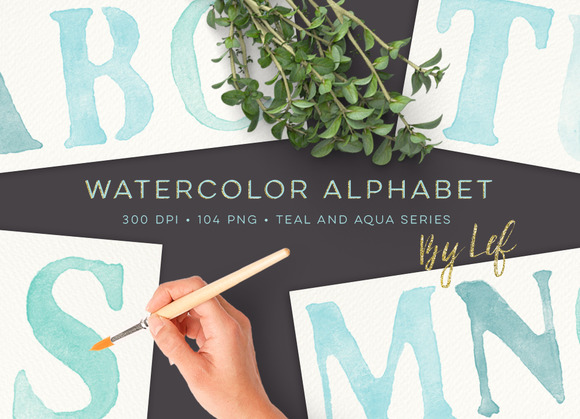 Watercolor Alphabet Graphics Clipart