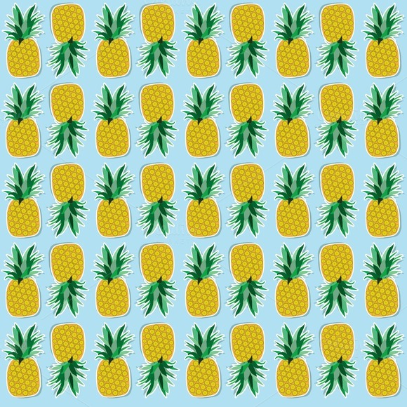 Fruits set. Pineapple and banana. - Patterns