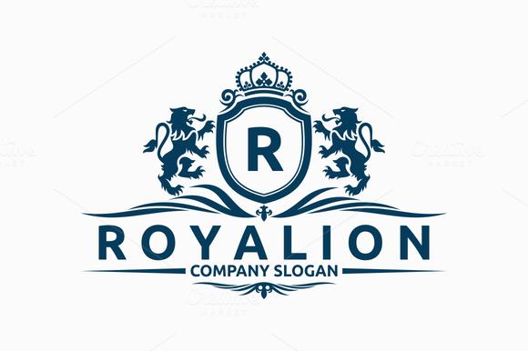 royal lion logo logo templates on creative market. Black Bedroom Furniture Sets. Home Design Ideas