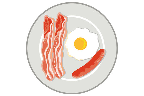 Egg Sausage Bacon Plate Retro