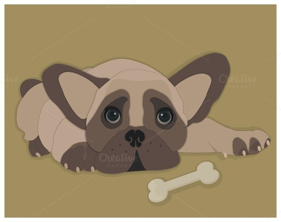 French bulldog. Dog with bone. - Illustrations