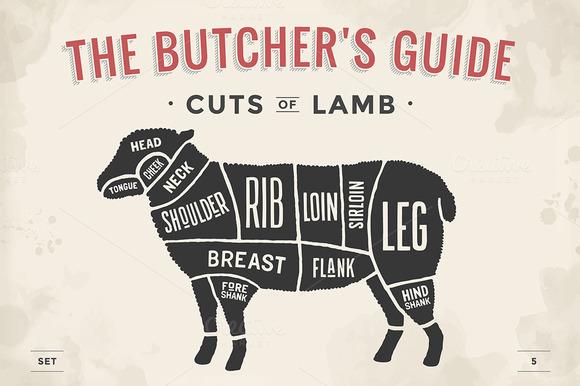 Cut Of Meat Set Butcher Sheme Lamb