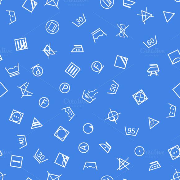 Laundry Symbols On Blue Background
