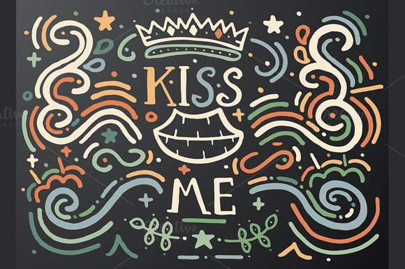 Kiss me. Hand drawn vintage print. - Illustrations