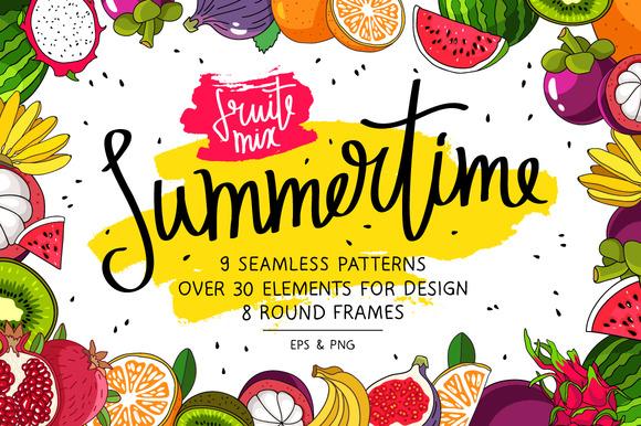 Summertime. Fruit Mix - Illustrations