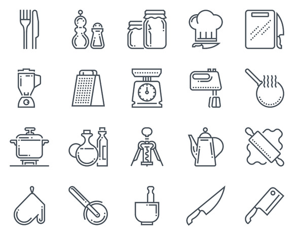 Kitchen Kitchenware Icon Set