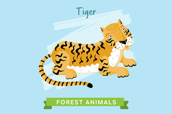 Tiger Vector Forest Animals