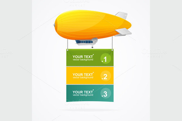 Dirigible Menu Concept. Vector - Illustrations