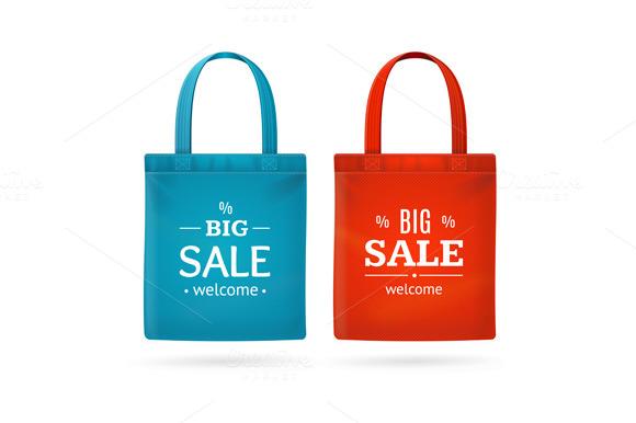 Color Sale Bag Labels Set Vector