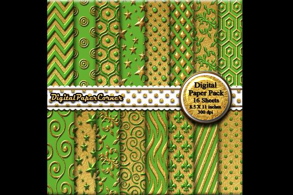 Gold Green Embossed Digtial Paper