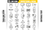 Thin Line Advertising Icons-Graphicriver中文最全的素材分享平台