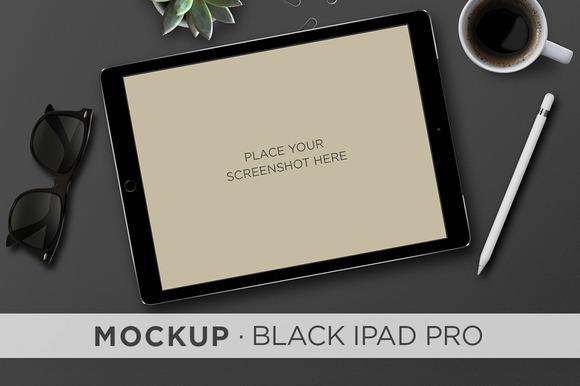 Mockup . Black iPad Pro & Pencil - Product Mockups