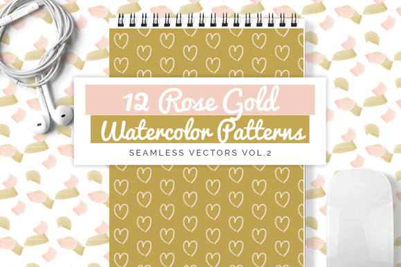 Rose Gold Watercolor Patterns vol.2 - Patterns