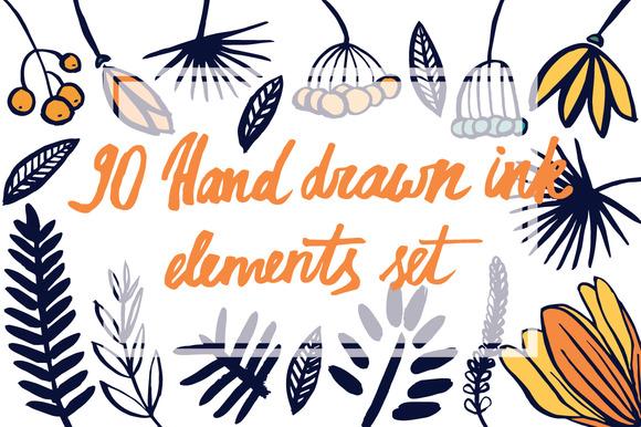 90 Hand Drawn Ink Elements