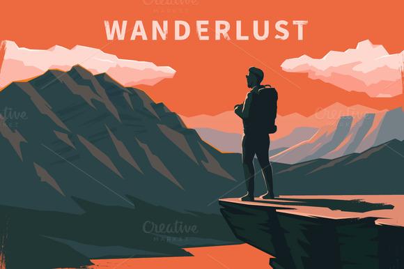 Wanderlust. Vector illustrations. - Illustrations