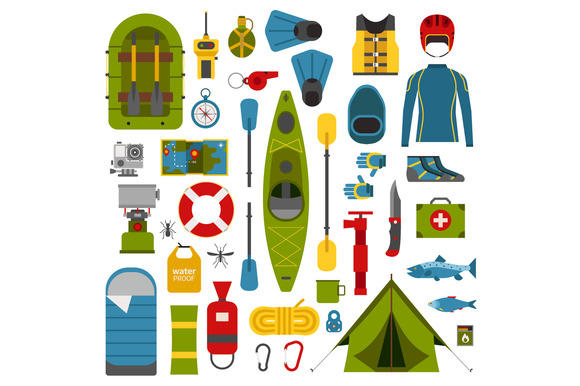 River Camping Set. Rafting Hike. - Objects