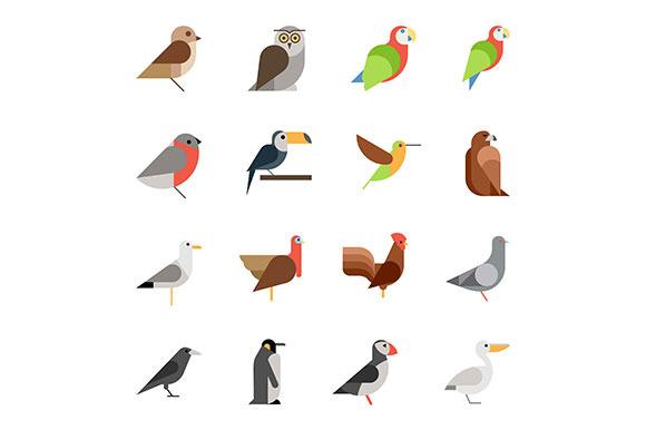 Flat Vector Birds Icon Set