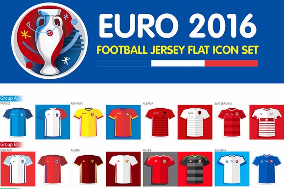 Euro 2016 Football Jersey Flat Icon