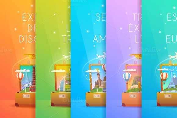 Travel Collection. Vertical banners. - Illustrations
