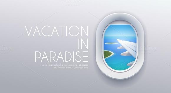 Airplane window. Web banner. - Illustrations