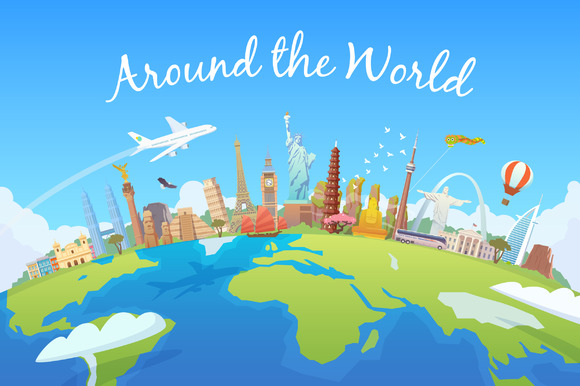 Around the world. Travel collection. - Illustrations