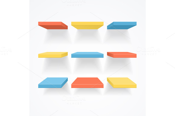 Color Empty Shelves. Vector - Illustrations
