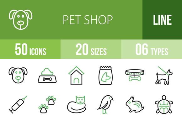 50 Pet Shop Line Green Black Icons