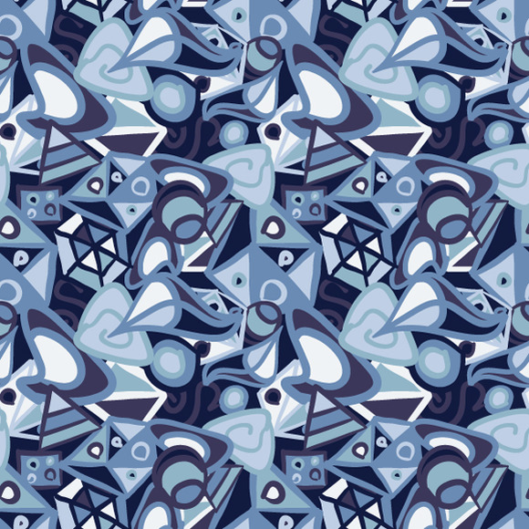 Abstract Blue Shapes Pattern