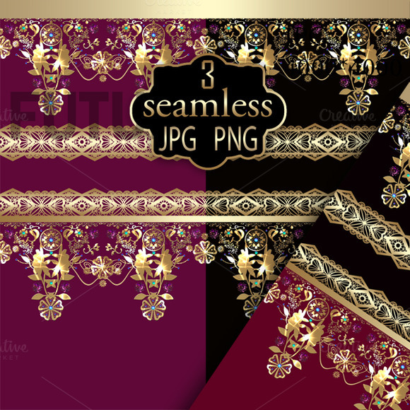 Gold Lace 3 PNG