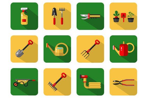 Garden Work Tools Icons Set