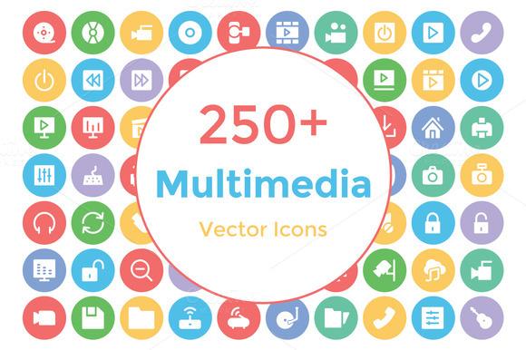 250 Multimedia Vector Icons