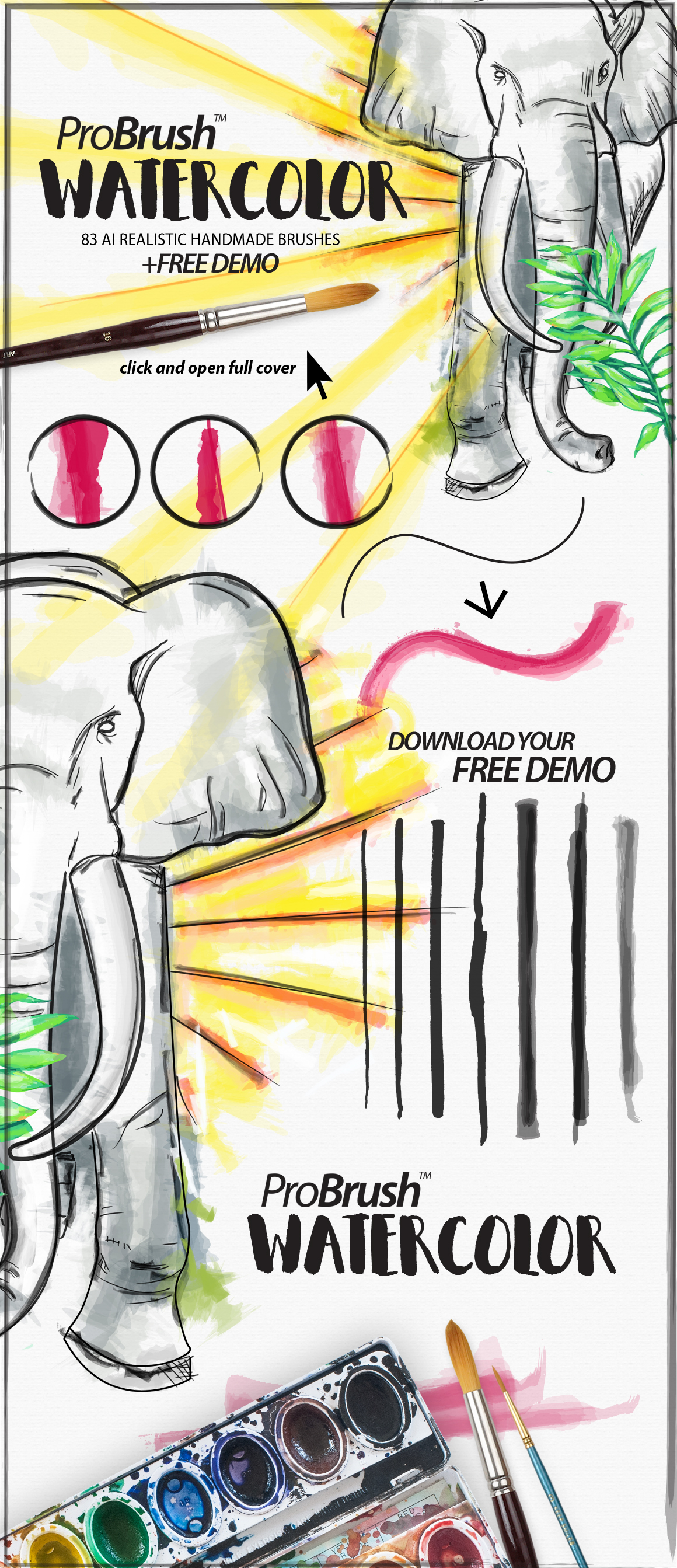 Book Cover Watercolor Brushes : Watercolor probrush™ free demo brushes on creative market