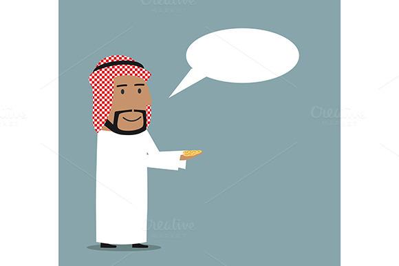 Happy Cartoon Arabian Businessman