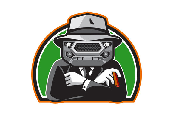 Mobster Car Grille Face Half Circle