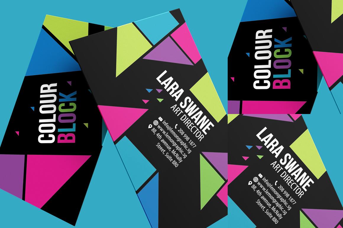 colour block business card design business card. Black Bedroom Furniture Sets. Home Design Ideas