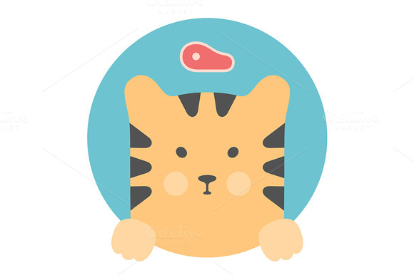Portrait In Flat Graphics Tiger