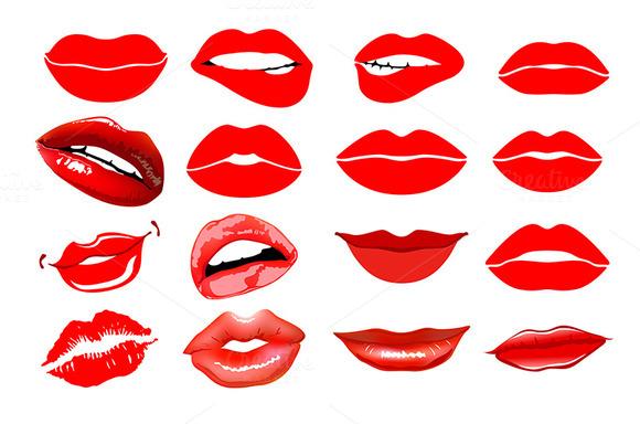Lips set. Woman makeup vector - Graphics