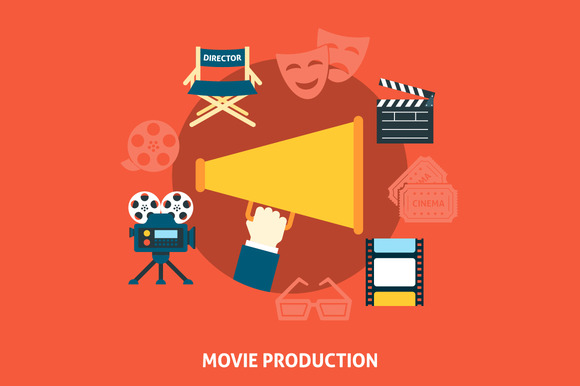 Movie production. Flat design - Illustrations