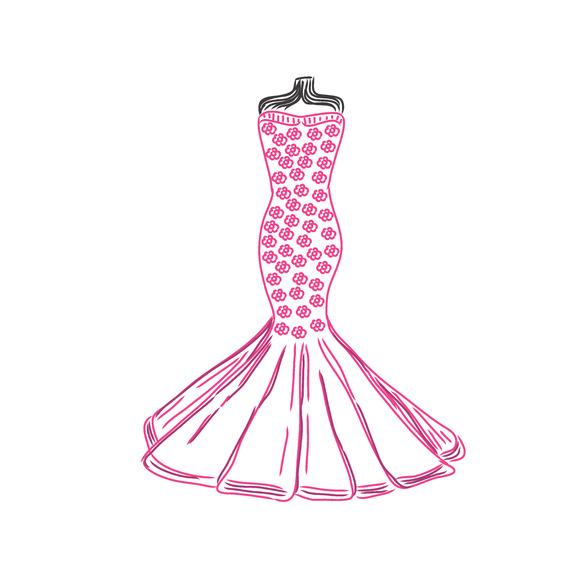 Dress Sketch Vector Illustration