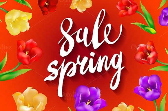 red. Spring Sale colorful tulips  - Graphics