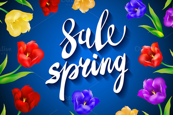 blue. Spring Sale colorful tulips - Graphics
