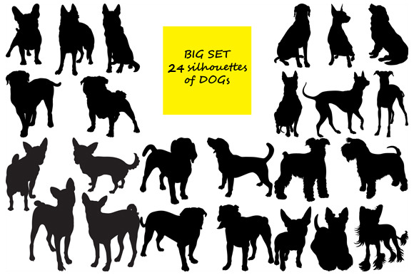 24 Silhouettes Of Dogs BIG SET