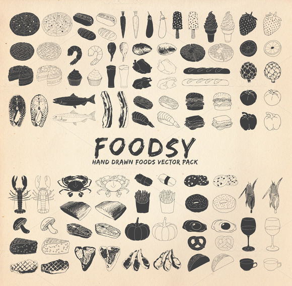 Foodsy 100 Hand Drawn Foods Vector
