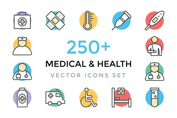 250 Medical And Health Vector Icons