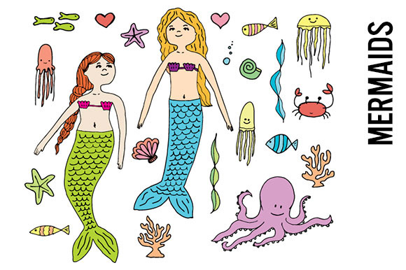 Mermaid Doodle Clipart