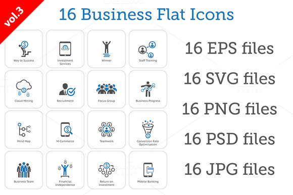 16 Business Flat Icons Set vol.3 - Icons