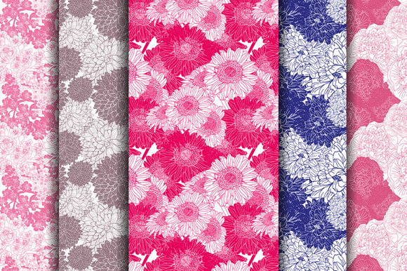 5 Floral Seamless Patterns