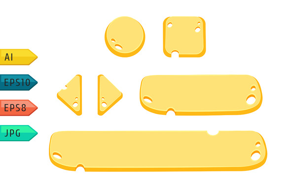 Game UI Cartoon Cheese Buttons