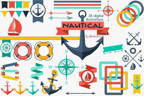 Nautical Vol.1 - Summer Cliparts - Illustrations